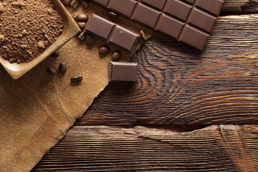 Dark chocolate, cocoa and coffee grains